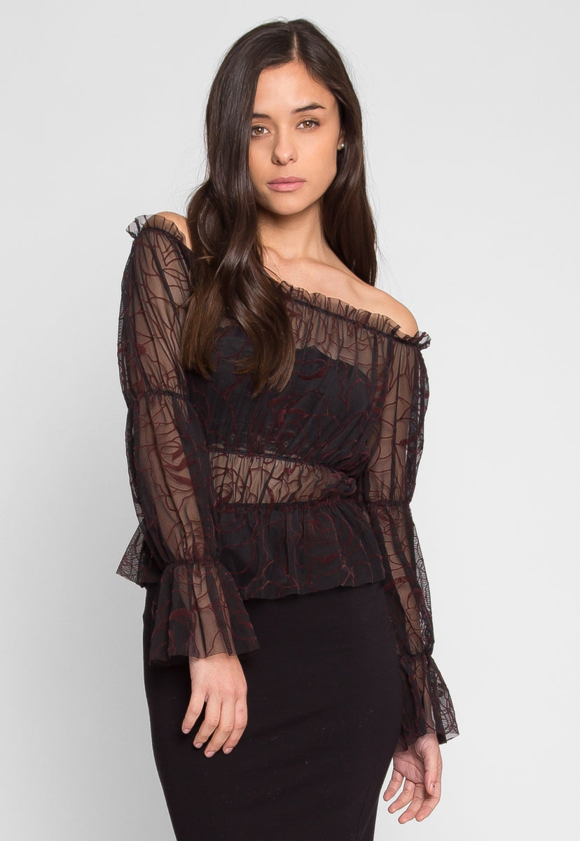 Hollows Sheer Gathered Top in Burgundy Print - Shirts & Blouses - Wetseal