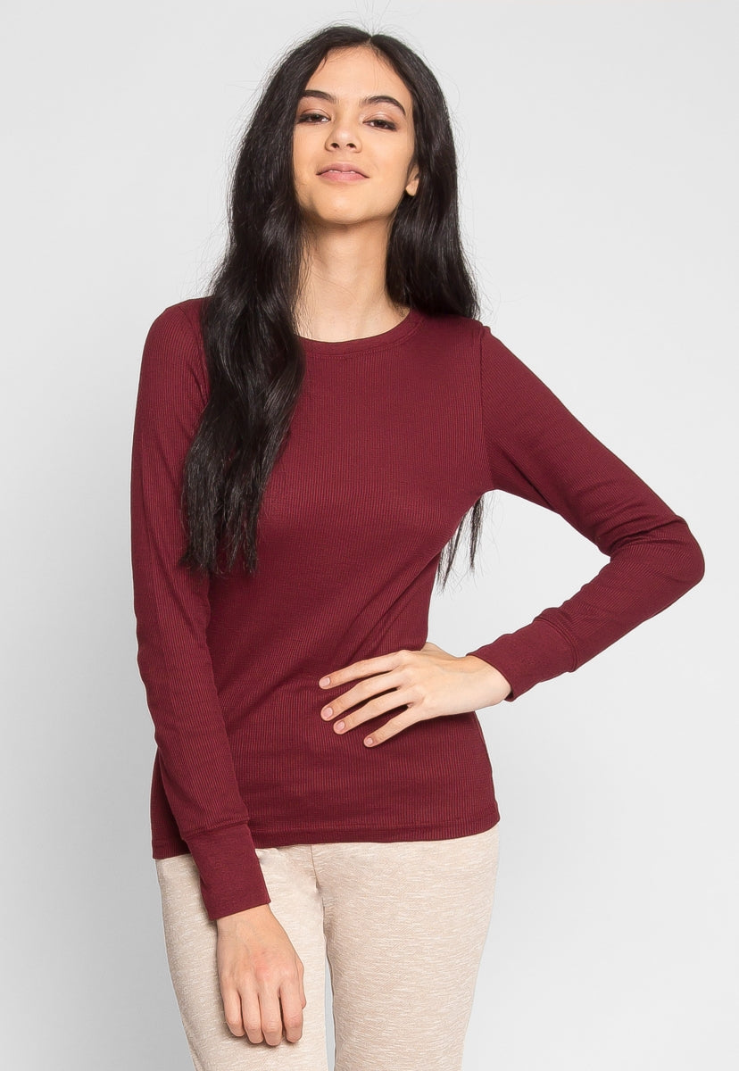 The Seal Thermal Top in Wine - Shirts & Blouses - Wetseal