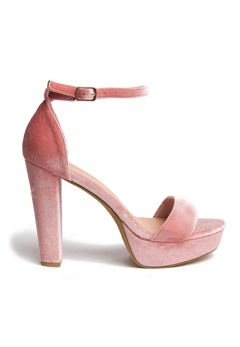 Penelope Velvet Heels in Blush - Shoes - Wetseal