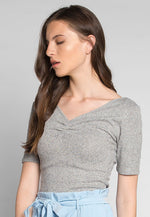 Coffee Break Heathered Top in Gray