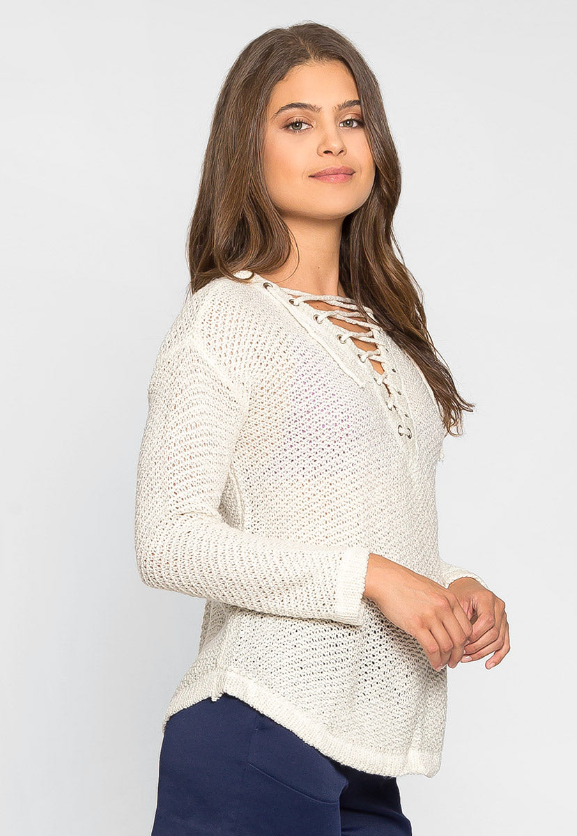 April Lace Up Sweater in Beige - Sweaters & Sweatshirts - Wetseal