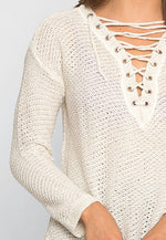 April Lace Up Sweater in Beige