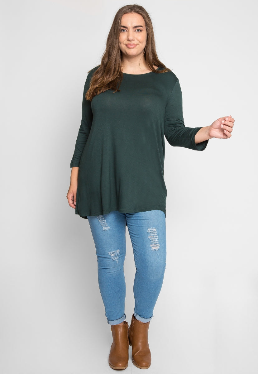 Plus Size Scoop Neck Top in Hunter - Plus Tops - Wetseal