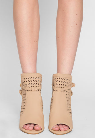 Kai Laser Cut Ankle Boots in Taupe