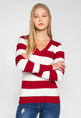 Be My Soulmate V-Neck Stripe Fitted Cardigan in Red