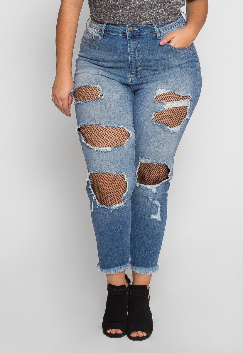 Plus Size Under Construction Distressed Jeans - Plus Bottoms - Wetseal