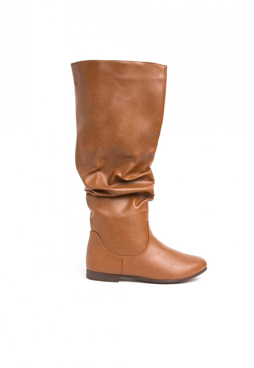 Cruz Faux Leather Slouchy Boots in Taupe - Shoes - Wetseal