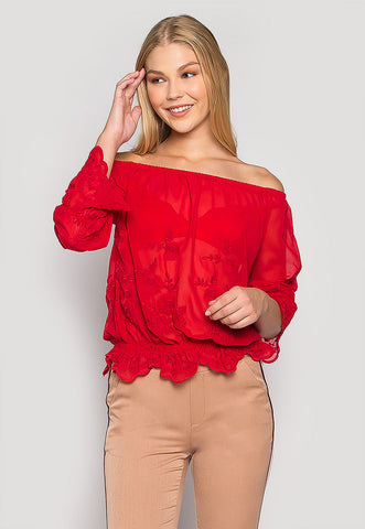Unforgettable Embroidered Off Shoulder Blouse in Red