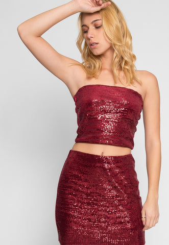 Red Wine Sequin Two Piece Set