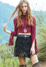 Star Studded Textured Mini Skirt