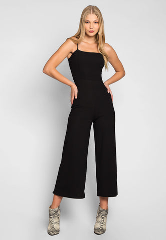 Romantic Dinner Self Tie Rib Knit Jumpsuit in Black