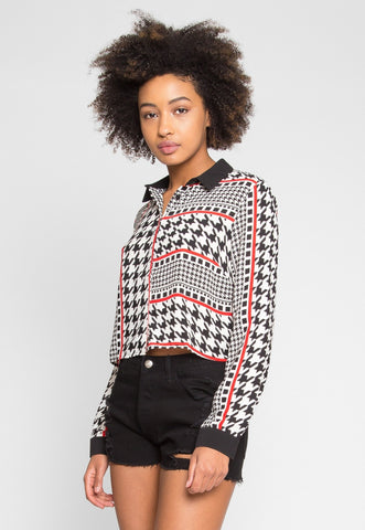 Abstract Houndstooth Crop Top