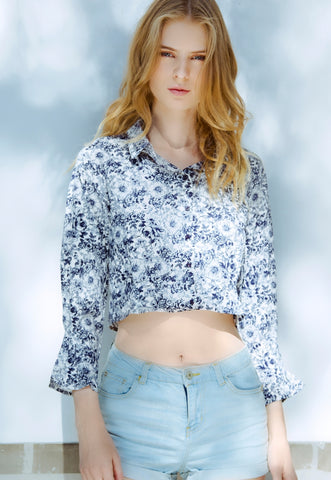Outcast Floral Crop Button Up Shirt in Navy