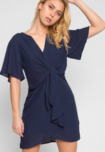 Samba Knotted Front Zip Back Dress in Navy