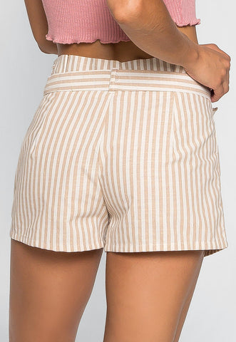 Cappuccino Stripe Paper Waist Shorts