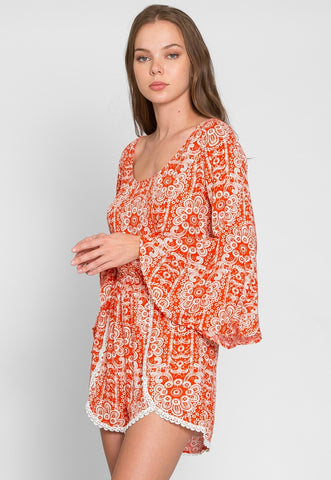 Hold Them Bandana Bell Sleeve Romper
