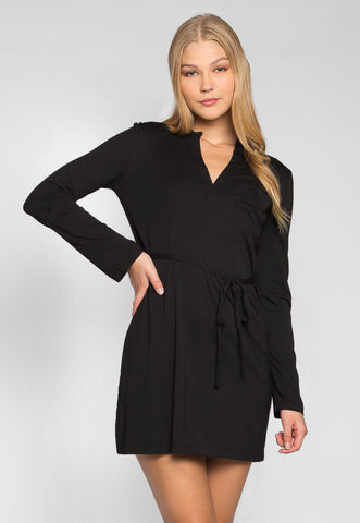 Fresh Start Front Pocket Belted Dress in Black