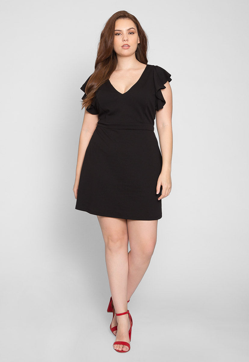 Plus Size Chic Flounce Sleeve Dress in Black - Plus Dresses - Wetseal