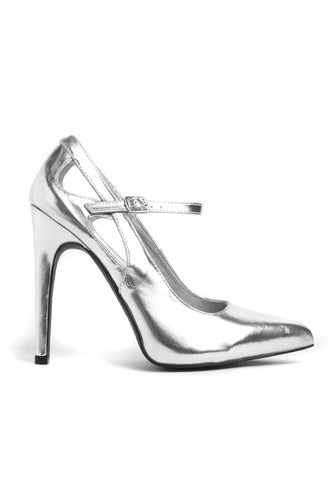 Chrome Metallic Cut Out Heels
