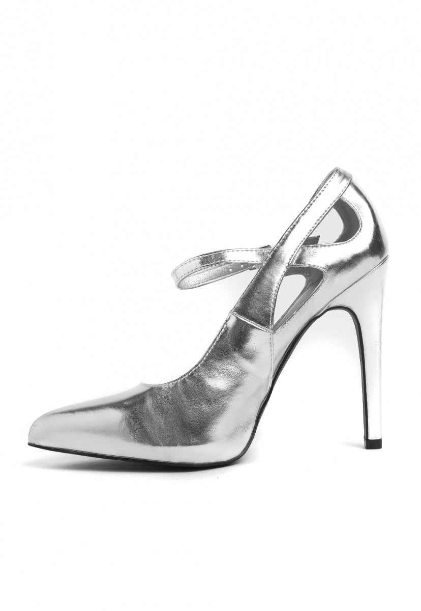 Chrome Metallic Cut Out Heels - Shoes - Wetseal