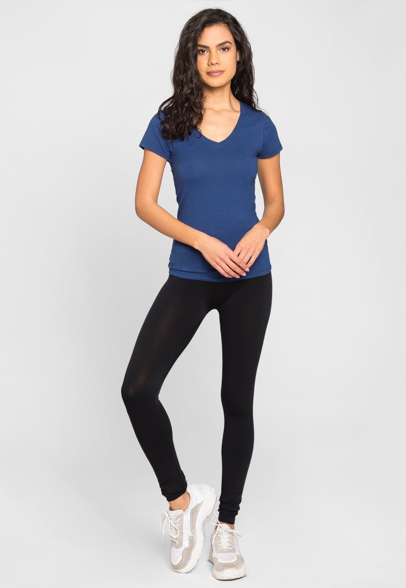 Olivia Fitted V-Neck Tee in Indigo - T-shirts - Wetseal