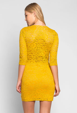 Sunshine Plunge Neckline Lace Dress