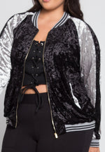 Plus Size Ball Game Velvet Bomber Jacket