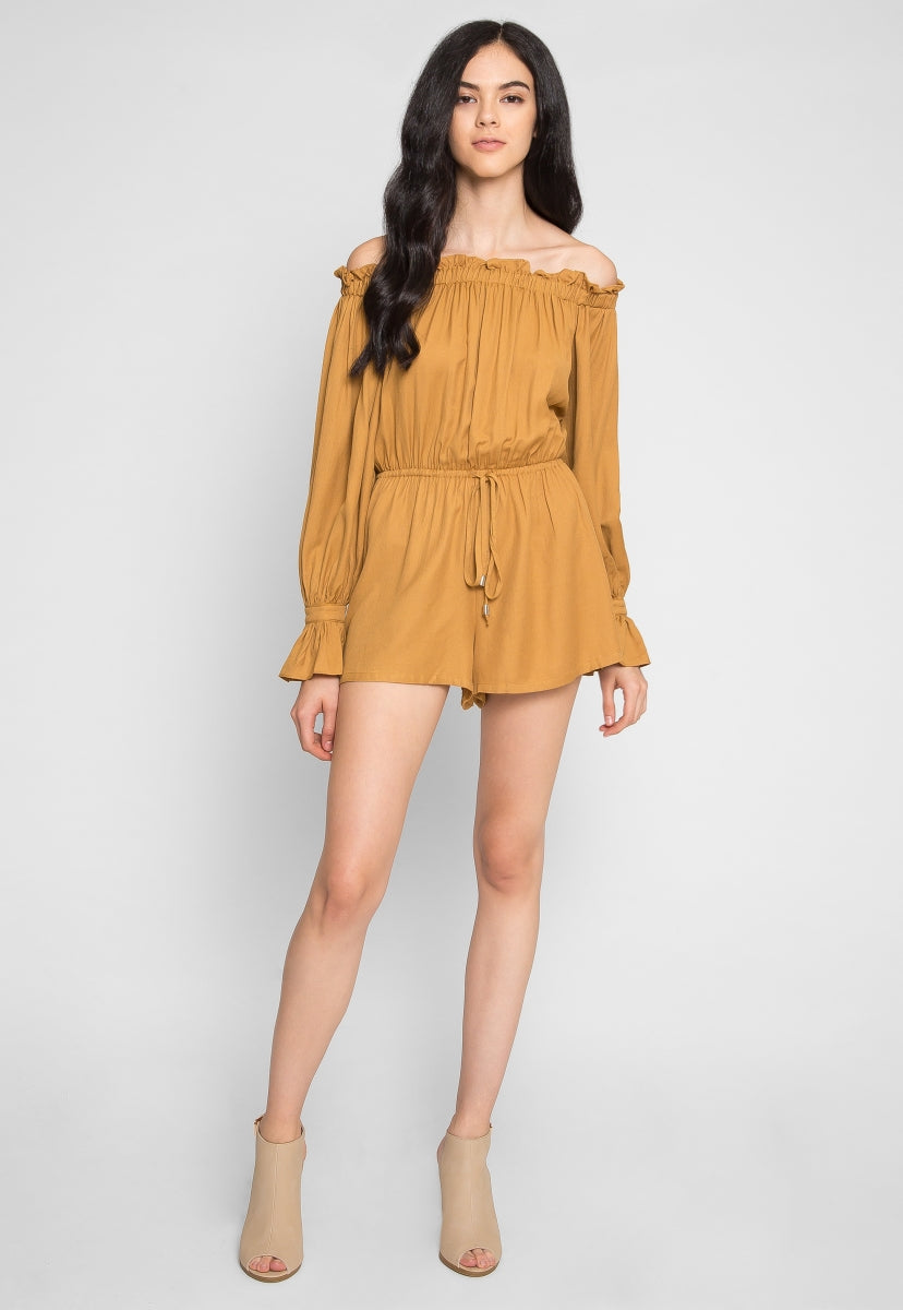 Brookhaven Off Shoulder Romper - Rompers & Jumpsuits - Wetseal