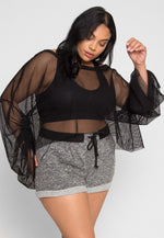 Plus Size X-Ray Mesh Sweater in Black