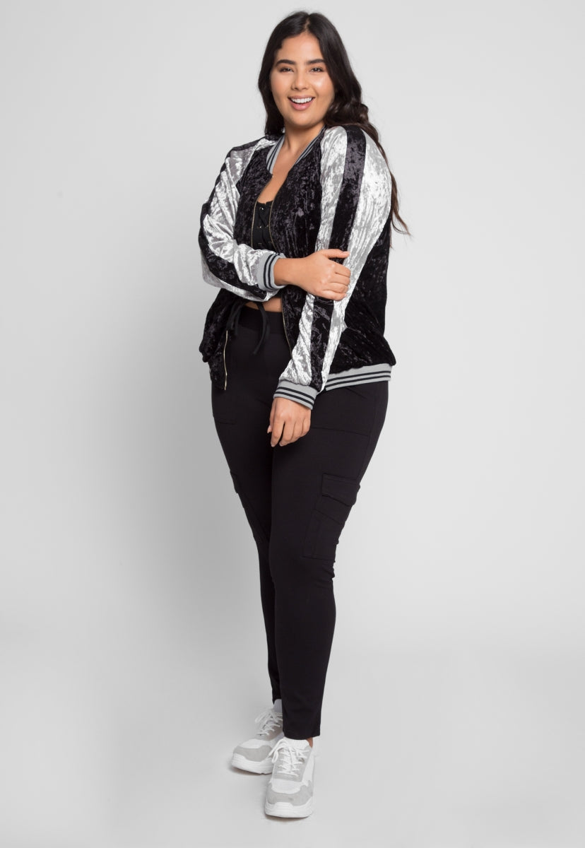 Plus Size Ball Game Velvet Bomber Jacket - Plus Outerwear - Wetseal