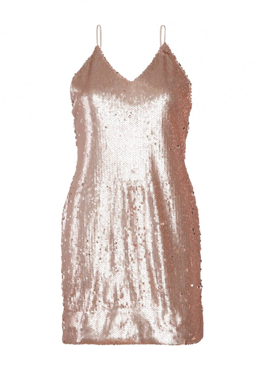 cc61ed93fb16 Bubbly Sequin Slip Dress in Peach | Wet Seal