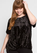 Plus Size Waterfalls Velvet Twist Top