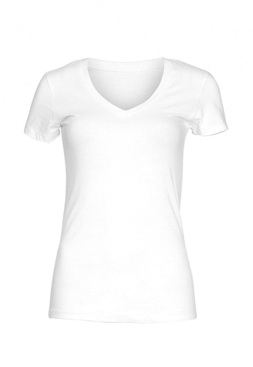 Olivia Fitted V-Neck Tee in White - T-shirts - Wetseal