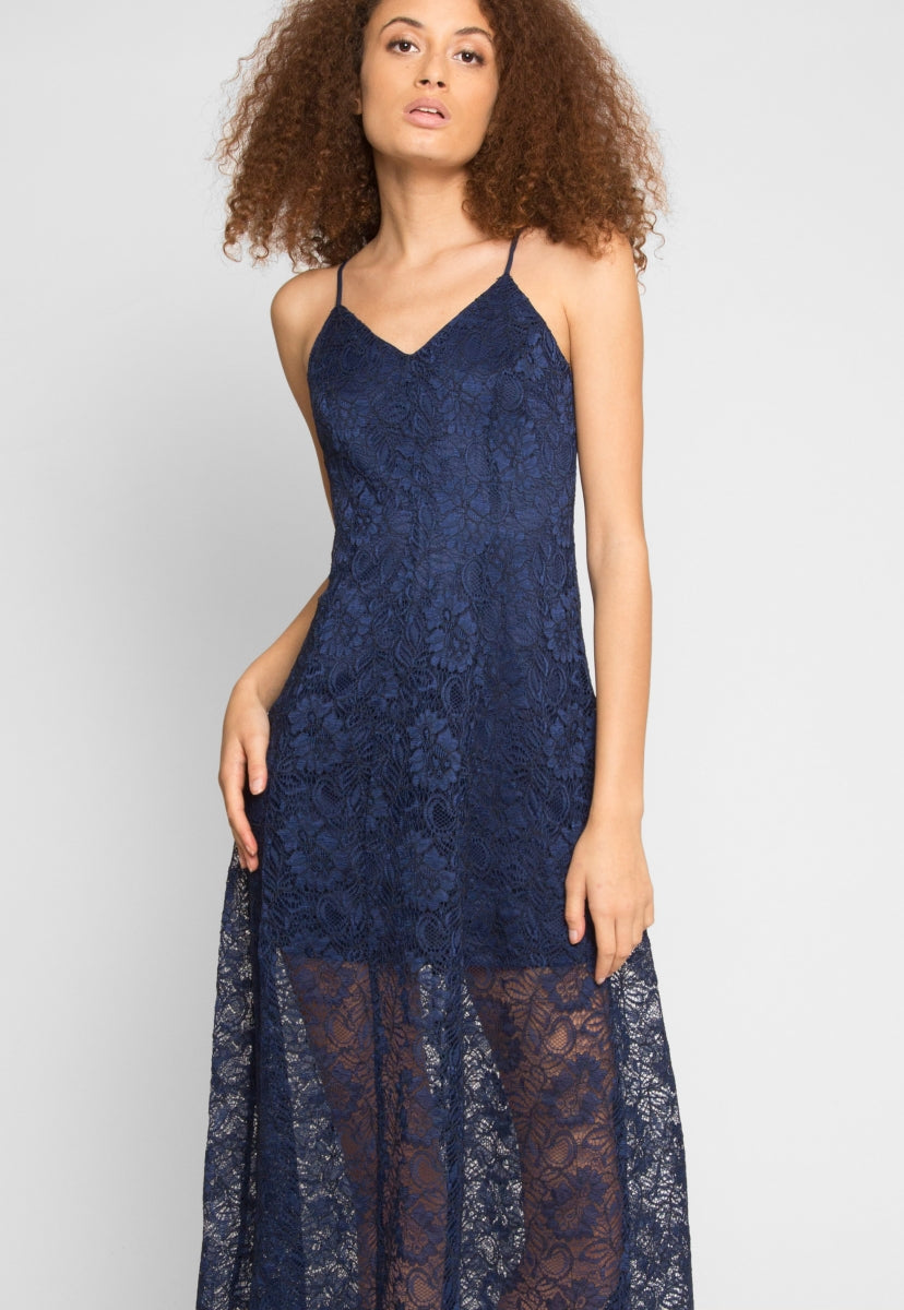 Manhattan Lace Maxi Dress in Navy - Dresses - Wetseal