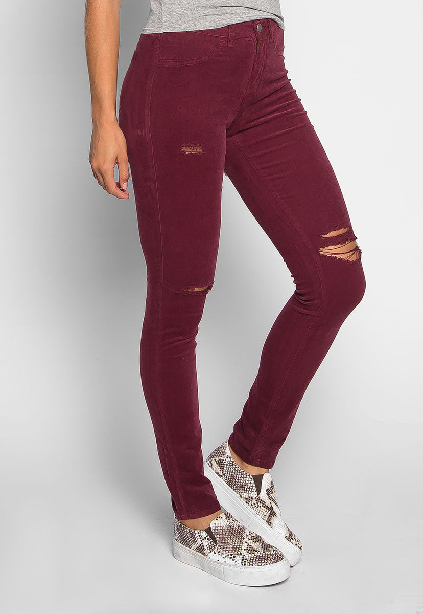 Bonfire Corduroy Pants in Burgundy - Pants - Wetseal