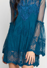 Guipure Lace Overlay Mesh Dress