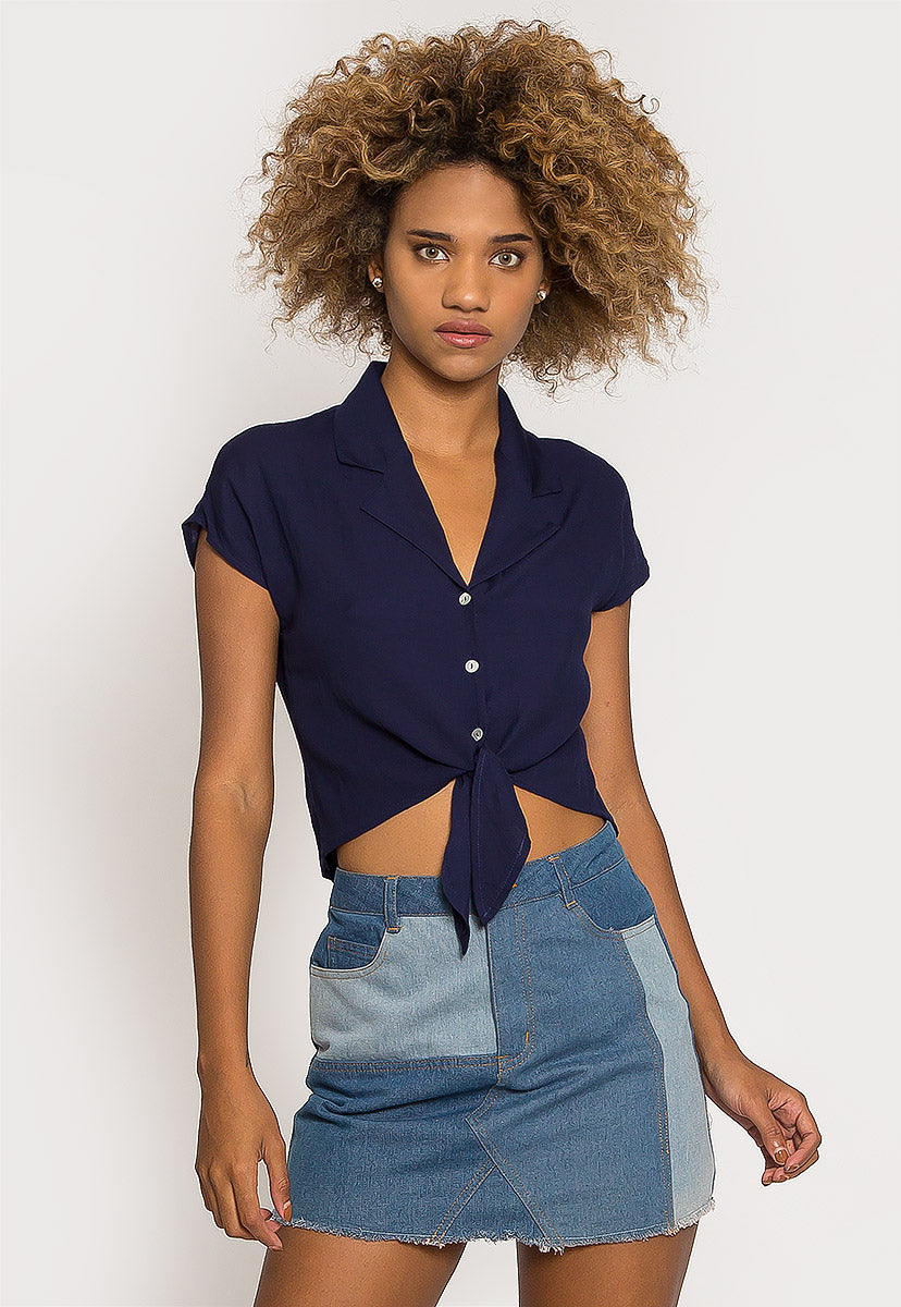 Sail Away Crop Button Up Shirt in Navy - Shirts & Blouses - Wetseal