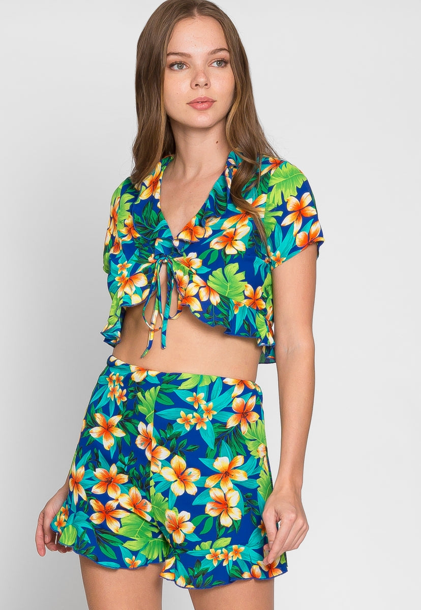 On Vacation Print Two Piece Set - Set - Wetseal