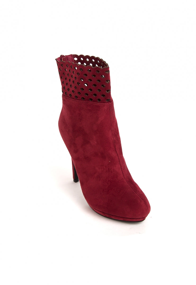 Sunset Laser Cut Booties in Burgundy - Shoes - Wetseal