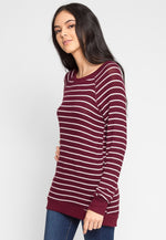 Token Longline Stripe Top in Burgundy