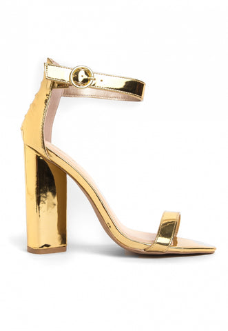 The Vault Metallic Ankle Strap Heels