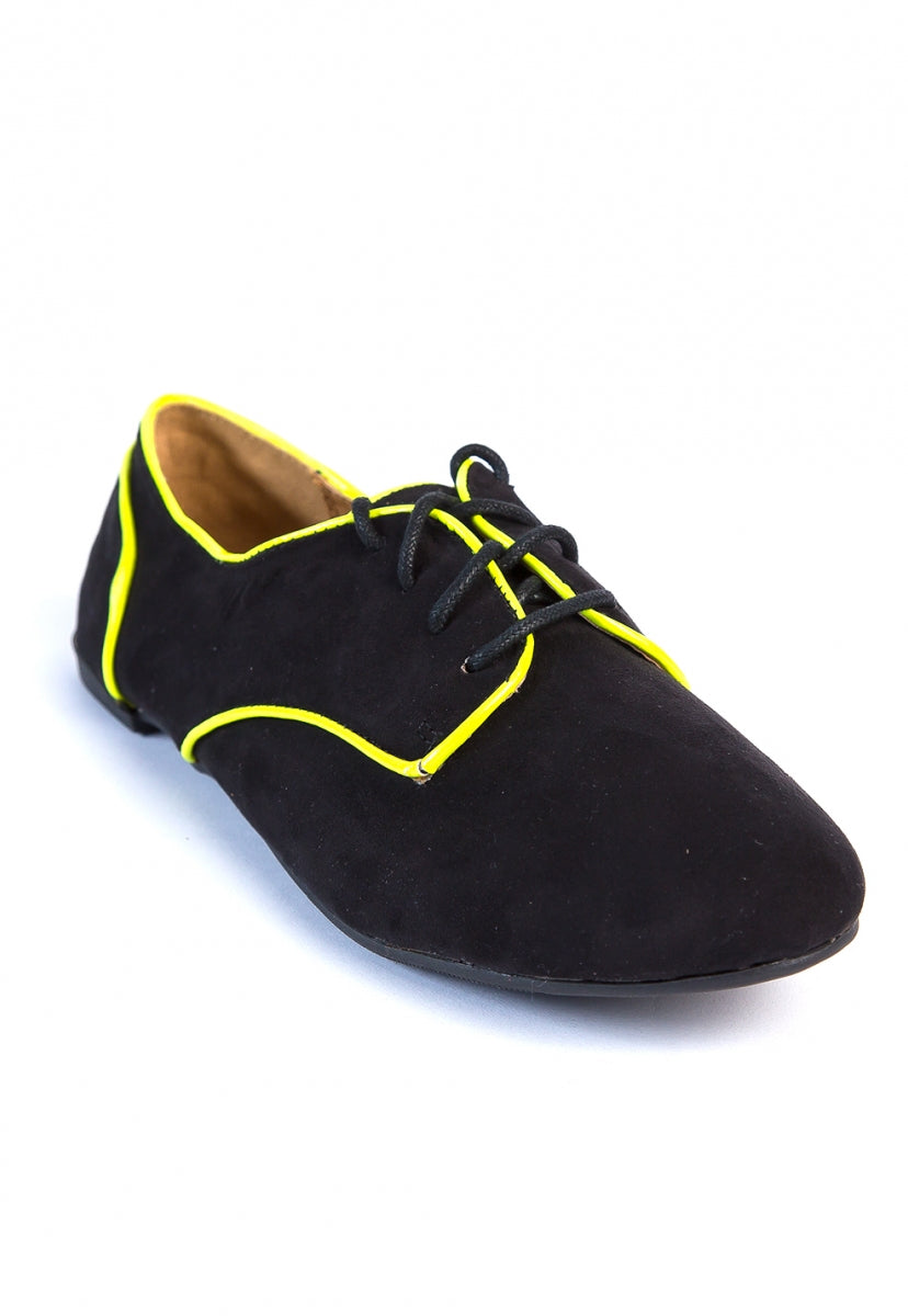 Unexpected Neon Trim Oxford Shoes - Shoes - Wetseal