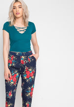 Refreshing Floral Pants in Navy