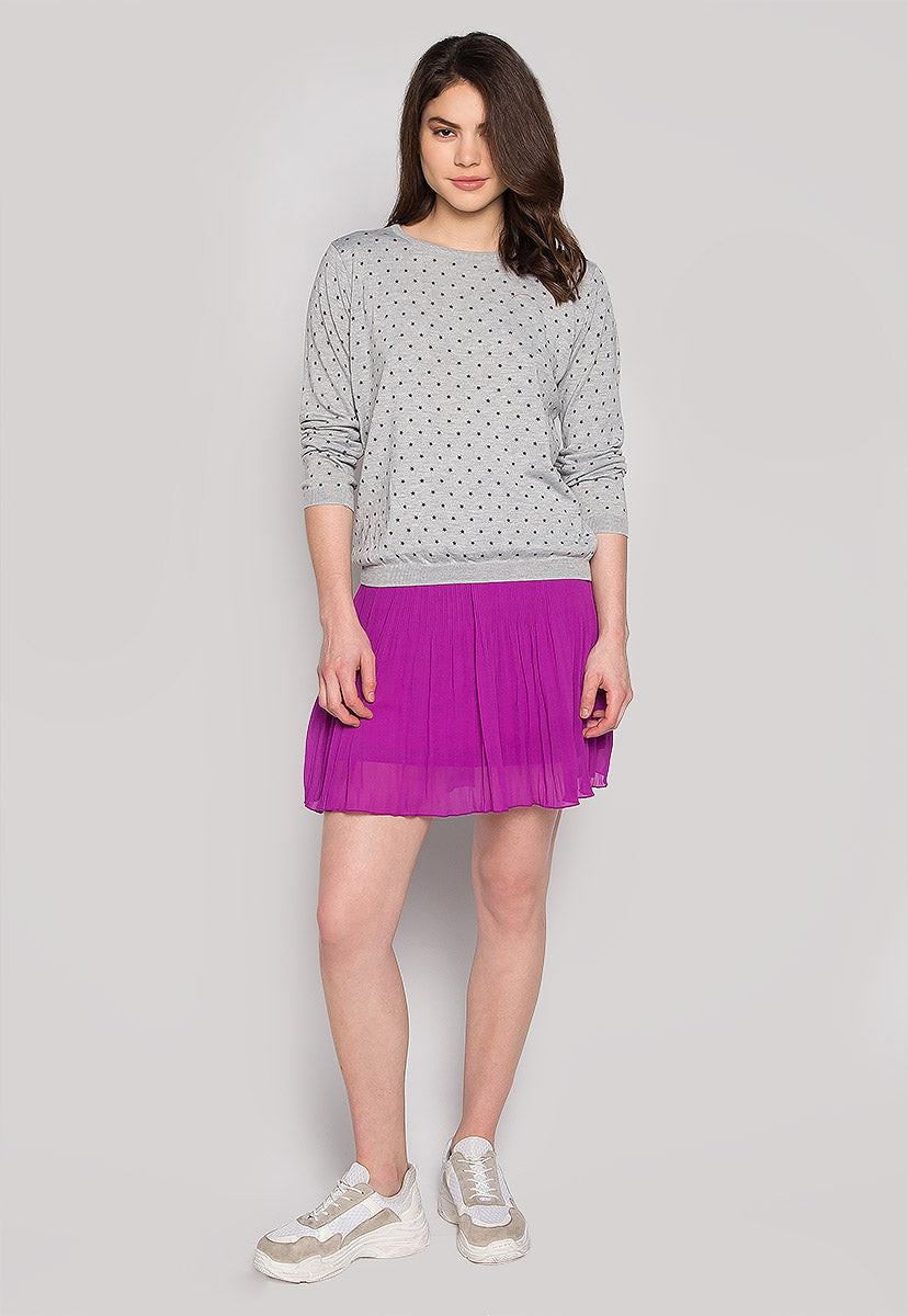 Soft Star Printed Sweater in Gray - Sweaters & Sweatshirts - Wetseal
