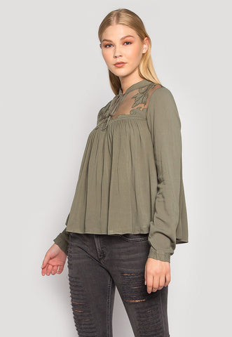 Olivia Sheer Panel Applique Blouse