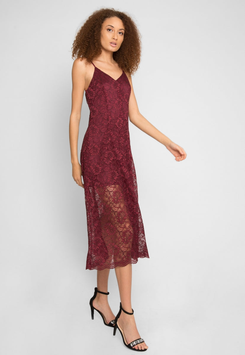 Manhattan Lace Maxi Dress in Wine - Dresses - Wetseal