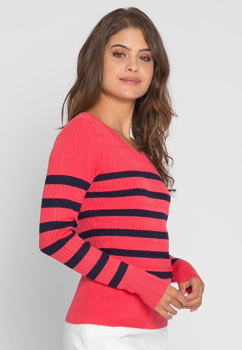 Boat V-Neck Rib Knit Stripe Sweater in Coral - Sweaters & Sweatshirts - Wetseal