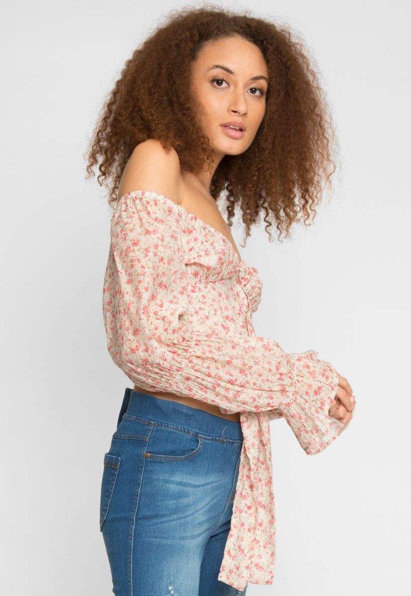 Alto Floral Off Shoulder Top in Beige - Crop Tops - Wetseal