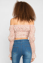Alto Floral Off Shoulder Top in Beige