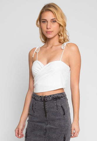 Reveal Tie Front Crop Top in White